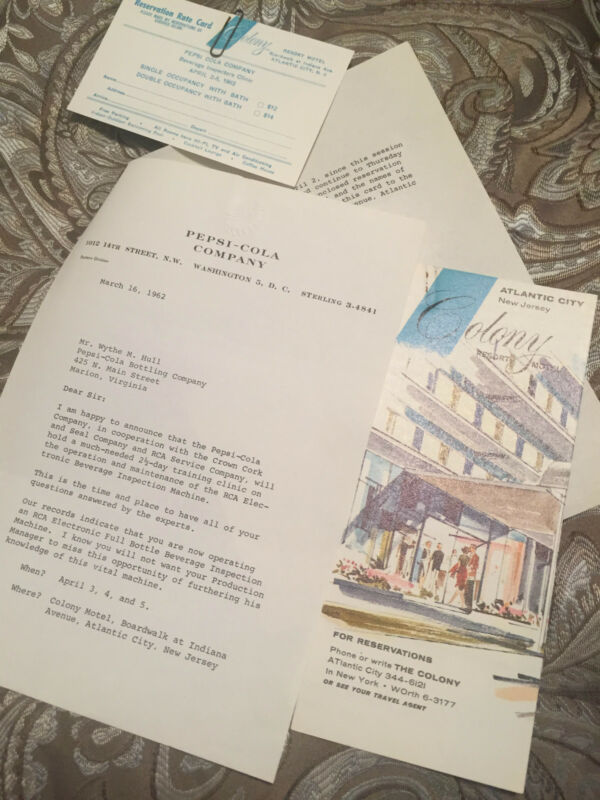 ORIGINAL PEPSI  COLA LETTER HEAD BROCHURE ATLANTIC CITY 1962 RARE