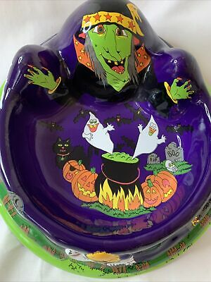 Vtg Ullman 3D Halloween Candy Bowl Large Plastic Treat Ghosts Witches Bats