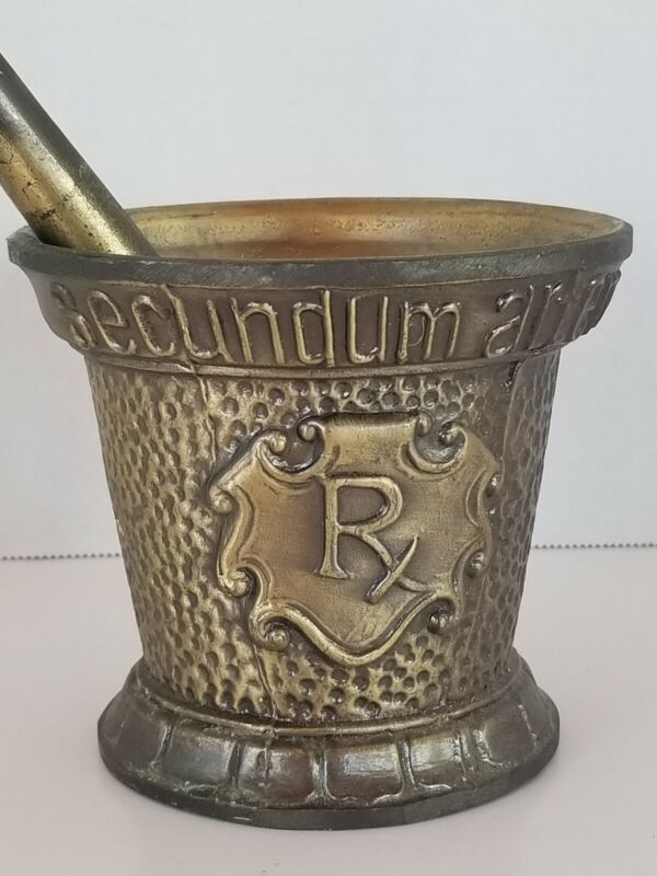 Vintage Antique Brass Bronze Mortar Pestle Coricidin Pharmacy Advertising