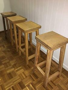Solid oak square top barstool in natural oak finish. Seaforth Manly Area Preview