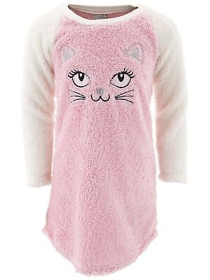 Pink Nightgown Girls (Sweet N Sassy Girls Cat Pink Sherpa Nightgown for)