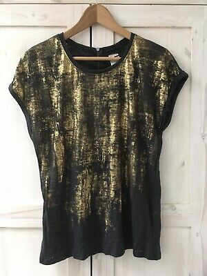 Zara Black Gold Top Blouse Tee T-shirt Burnout Size Medium 10 12 Casual Metallic