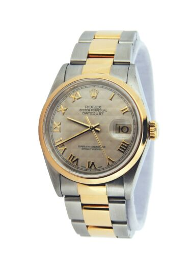 Rolex Datejust 16203 Men 18k Gold Stainless Steel Watch Ivory Pyramid Roman Dial