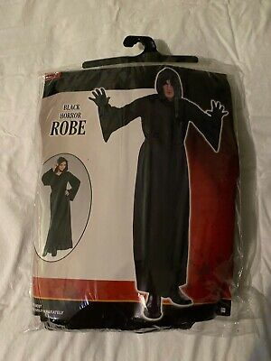 Nylon Horror Robe Halloween Costume with Hood for Adults Black One Size + MASK