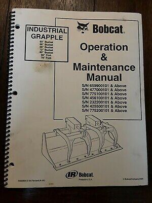 Bobcat Industrial Grapple 6066687280 Bucket 6678 Fork Manual