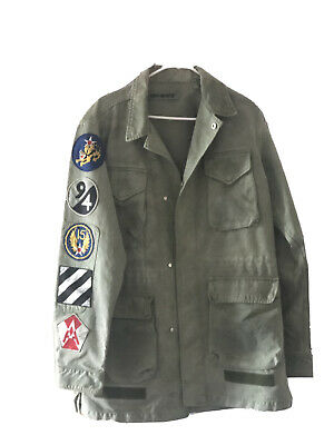 Off white military patch embellished field jacket