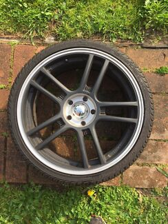 """18"""" Black Equus Wheels & Tyres 5x110 Holden Astra Saab Greensborough Banyule Area Preview"""
