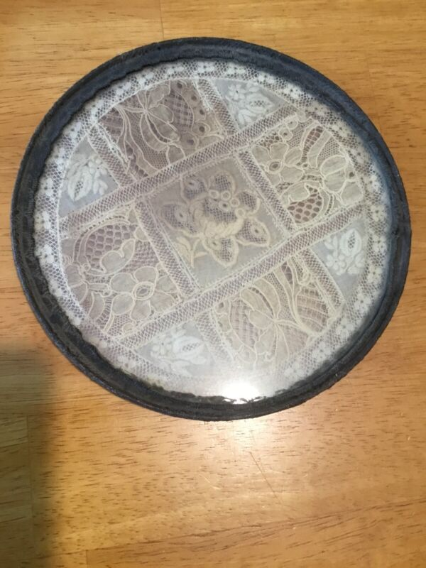 Antique Flue Cover Lace Inside Glass, East Tennessee, 7""