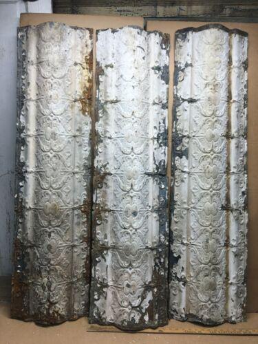 "3pc Lot 48"" x 13"" Crown Molding Antique Ceiling Tin Vintage Reclaim Salvage"