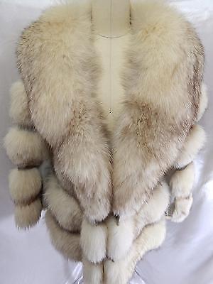 True Vintage FOX FUR COAT~Blonde Brown Gray Leathering JACKET 38B 36W L/XL