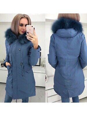 cappotto piumino caldo elegante donna sciancrato blu comodo cappuccio moda 1215
