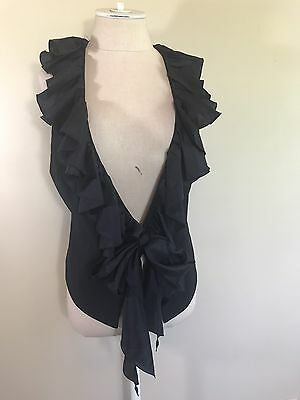Boston Proper Black Ruffle Trim Vest Size 8 ()