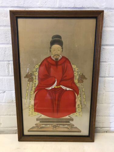 Vintage Antique Chinese Ancestral Painting Man Emperor in Dragon Chair