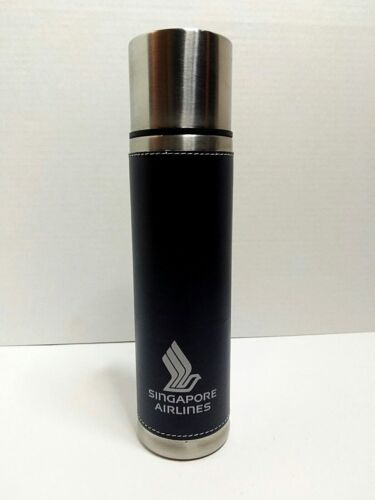 Singapore Airlines 17 oz Double Wall PU Leather Stainless Steel Vacuum Flask