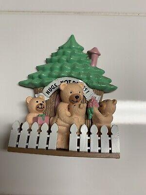 RARE Vintage Nobel Hall Hugs Not Drugs Bear & Treehouse Magnet Set