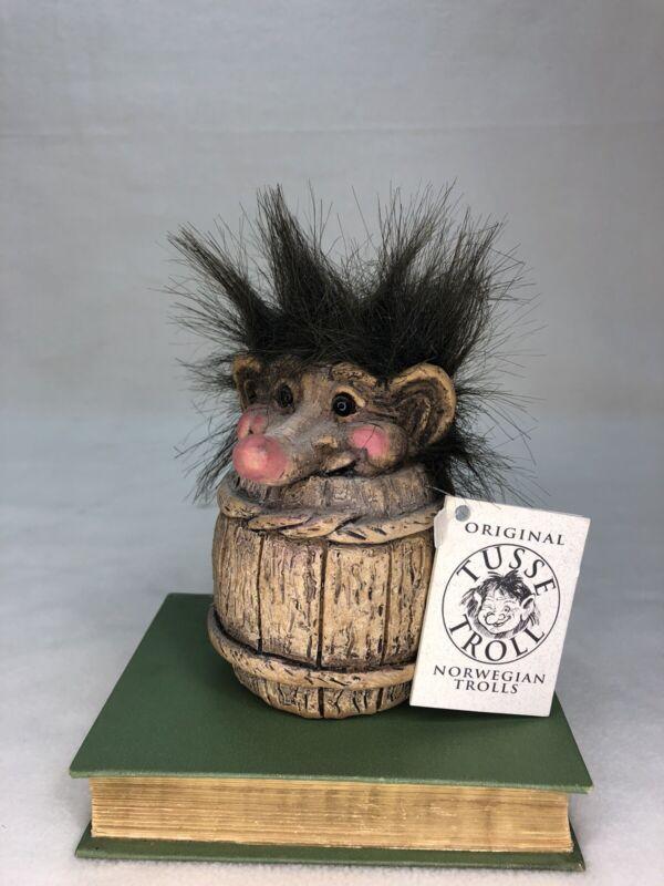 Norwegian Troll in Barrel, Original Nord Souvenir w tag, Mini Tusse Trolls NWT
