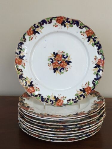 Antique John Maddock Multi-Colored MAJESTIC Dinner Plates ~ Set of 10