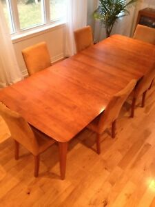 Top Quality Dining Room Table 2 Inserts 6 Chairs