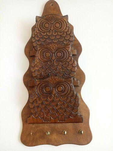 Vintage Wood 3 pocket owl letter holder & key holder MCM