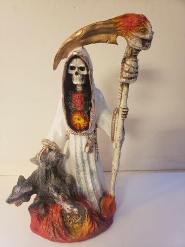 "SANTA MUERTE BENDESIDA 21"" WHITE / WOLF /HOLY DEATH FIXED/GRIM REAPER/SUERTE"