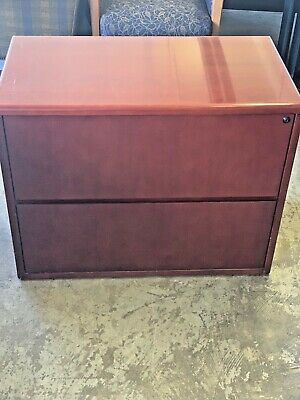2dr 36 12w X 19 12d X 28 12h Lateral File Cabinet In Cherry Finish Wood
