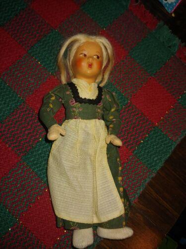 """Vintage 8 1/2"""" Antique Celluloid & Cloth DUTCH Doll"""