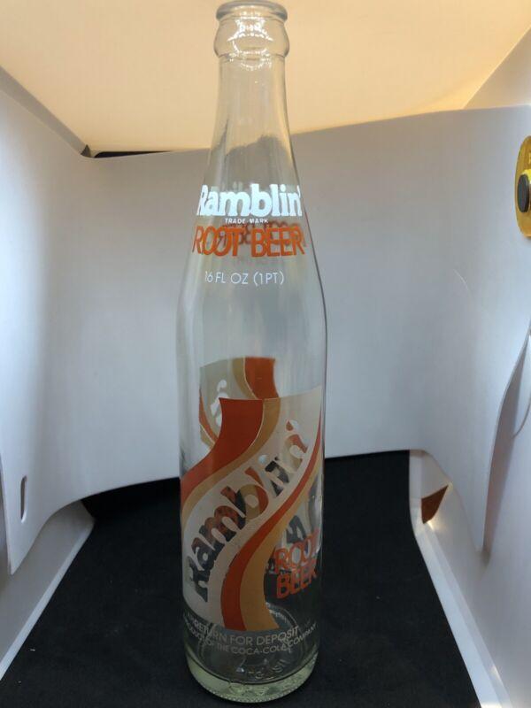 Ramblin root beer ACL soda pop bottle Coca-Cola 16 fluid ounce