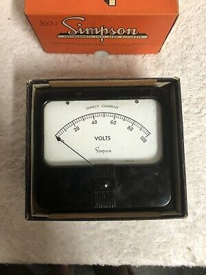 Vintage Simpson Meter 0-100 Dc Volts. Model Appears To Be 7227 Usa