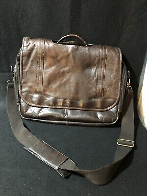 Samsonite Brown Leather Flapover Case Laptop Messenger Bag Many pockets Vintage