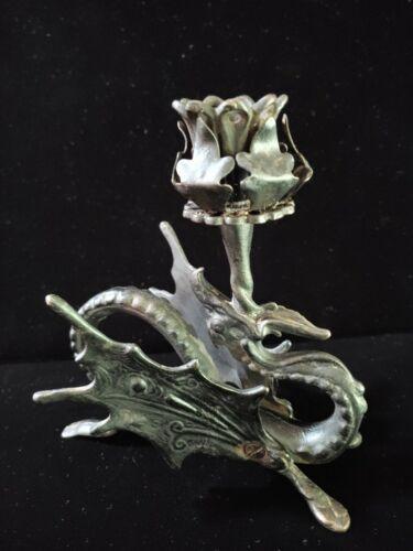 Antique Victorian or Art Nouveau Cast Iron Dragon Candlestick Holder