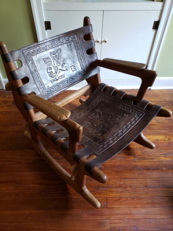Angel Pazmino Teak and Leather Rocking Chair Ecuador, 1960s mid century MCM