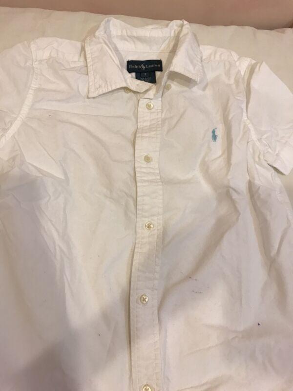 Ralph Lauren Boys Classic Oxford White Short Sleeve Button-down Shirt Sz 7