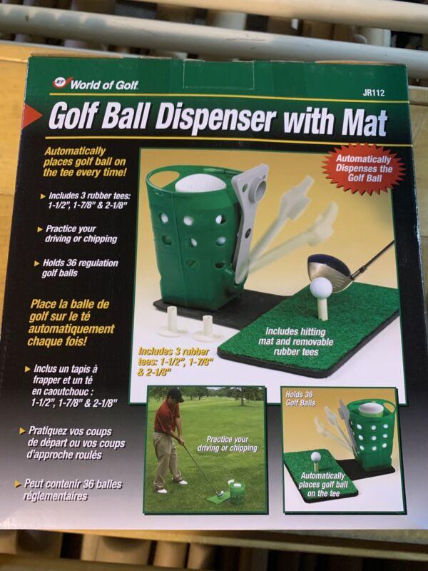Golf Ball Dispenser With Driving Mat