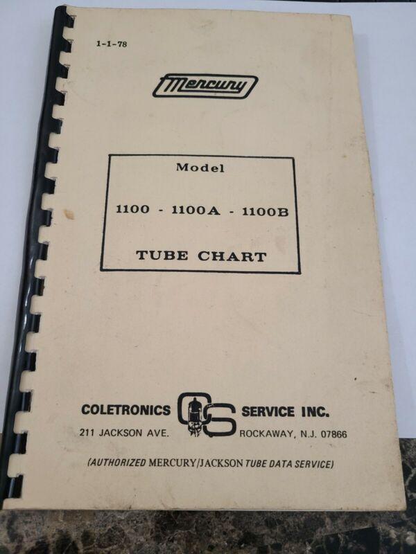 Mercury 1100 1100A 1100B vacuum Tube Chart booklet 1978 coletronics