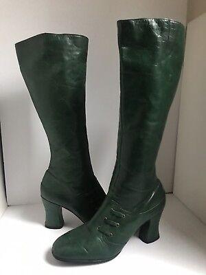 Retro Green GoGo Boots zip up Mid Calf. Sz 7. RETRO 1960's-70's Original!!