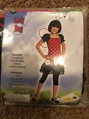 Halloween Costume Girl Lady Bug  Xl 14-16 New (Ladybug Girl Halloween Costume)