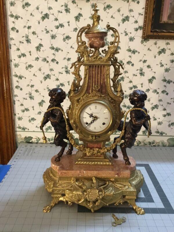 VINTAGE FRANZ HERMLE IMPERIAL BRASS & MARBLE SATYR CHERUB CLOCK WITH KEY