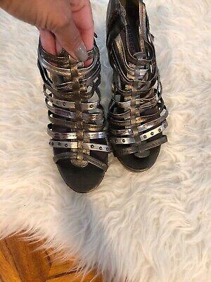 Madden Girl Kick Off 8.5 Heels Sandals Cage Weave Metallic Heels Silver Bronze - Off Madden Girl
