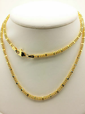 21k Solid Yellow Gold Sparkle Square Beaded Necklace/ Chain 9.34 Grams