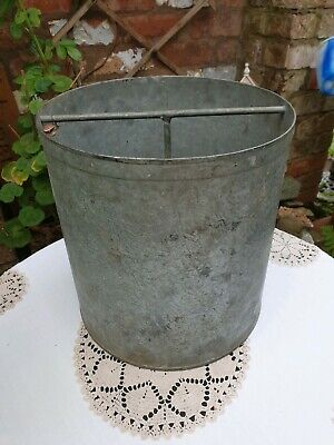 Vintage French Galvanised Well Bucket, Planter, Log Holder, Rustic, Farmhouse