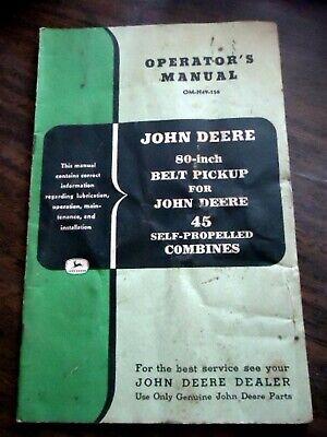 John Deere 80 Belt Pickup For 45 Combine Owners Operators Manual Omh49156