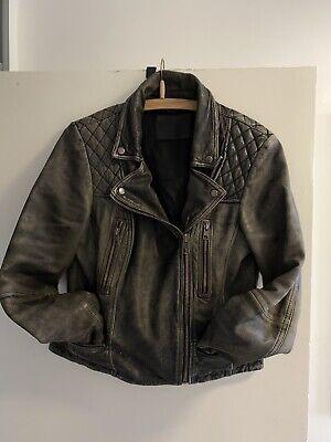 *Awsome-Sauce*AllSaints Distressed(Cargo)Biker Leather Jacket(12)RRP£389*WOW*