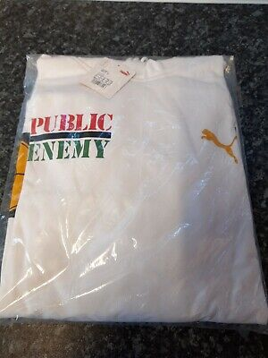 PUMA MEN'S PUBLIC ENEMY HOODIE - WHITE - SIZE EXTRA LARGE - NEW & SEALED