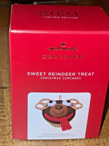 2021 Hallmark SWEET REINDEER TREAT Cupcake Limited Edition Ornament