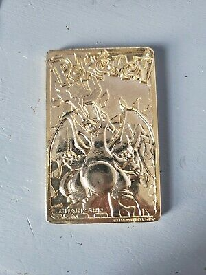 Nintendo Pokemon 24k Gold Plated Charizard Metal Card 1999 Fast Shipping