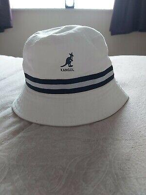 Mens White Kangol Logo Stripe Bucket Hat Cotton size L/XL