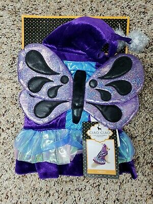 Dog Butterfly Costume (BRAND NEW Dog Costume Butterfly Winged Fairy Size X-SMALL Purple)