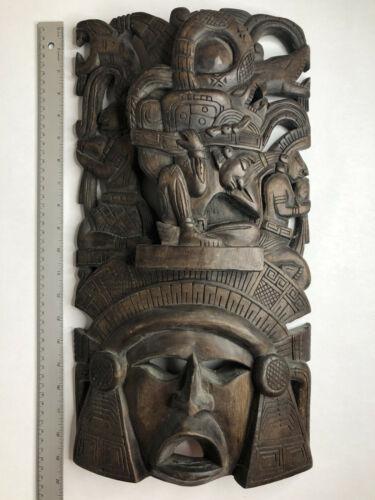 Wood Curved  Carved God Warrior Mayan Mask