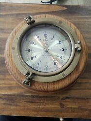 Porthole Wall Clock Brass Oak Wood Brassom Quartz Ships Nautical Clock Vtg 10.5