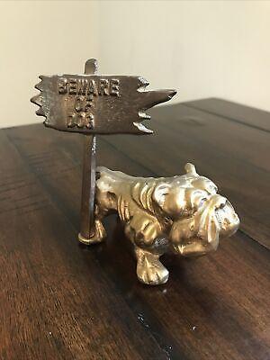 Vintage Brass Bulldog Dog Figurine Paperweight Beware Of Dog
